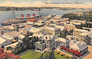 City of Hamilton and Harbour Bermuda Unused dried glue on back side