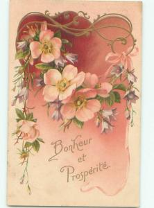 Very Old Foreign Postcard BEAUTIFUL FLOWERS SCENE AA4852