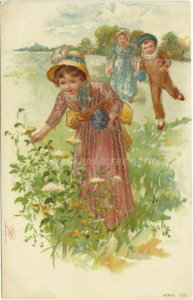 Children Picking Flowers The Milton Series Woodstone Bros. London Vintage