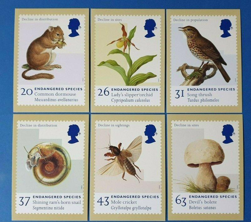 Set of 6 PHQ Stamp Postcard Set No.194 Endangered Species 1998 + free gift BP9