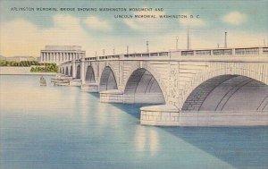 Arlington Memorial Bridge Showing Washington Monument And Lincoln Memeorial W...