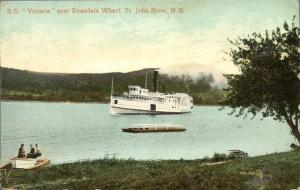 Steamship SS Victoria near Evandale Wharf St John RIver NB New Brunswick pm 1910