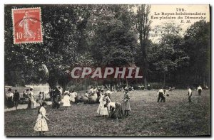 Old Postcard Diabolo Weekly rest Sunday Pleasures