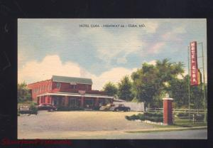 CUBA MISSOURI ROUTE 66 HOTEL CUBA VINTAGE CARS LINEN ADVERTISING POSTCARD MO