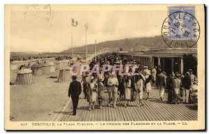Old Postcard Deauville La Plage Fleurie The Way boards and the Beach