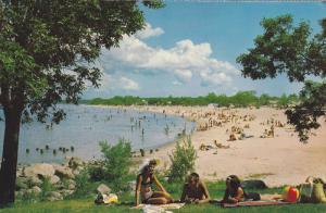 Sun Bathing at Grand Beach Provincial Park, Lake Winnipeg, Winnipeg, Manitoba...