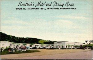 Mansfield PA~Art Deco Kendrick Motel~Esso Gas Station~Playground~1940s Linen PC