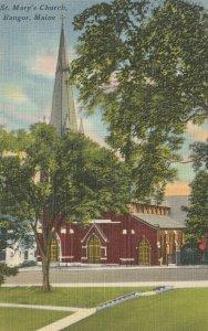 VINTAGE POSTCARD ST. MARY'S CHURCH BANGOR MAINE MINT UNPOSTED TICHNOR