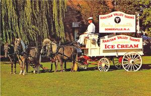 Somerville NJ Raritan Valley Farms Ice Cream Horses & Wagon Postcard