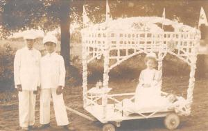 Children Parade Float Red Cross Hospital Bed Scene Real Photo Postcard J75630