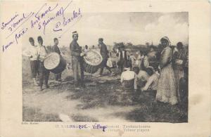Greece Salonique gypsy village tabour players Thessalonique Salonica vintage pc
