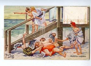 187750 COMIC Men on Beach by Arth. THIELE Vintage FED #466 PC