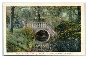 Postcard Lily Pond and Memorial Bridge, Public Gardens, Halifax NS Canada G58