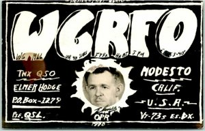1940 MODESTO, California Postcard QSL Amateur Radio Card ELMER HODGE w/ Photo!