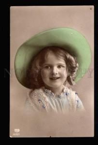 035338 Lovely Girl in HUGE Green HAT vintage PHOTO