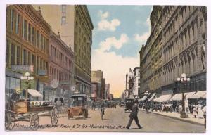 Minneapolis MN Horse & Wagon Store Fronts Old Car Bicycle Street View Postcard