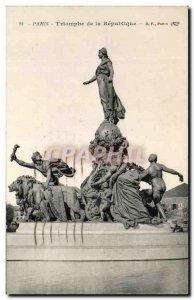 Old Postcard Paris Triumph of the Republic Lion