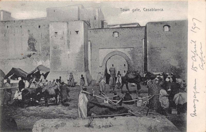 CASABLANCA MOROCCO AFRICA~TOWN GATE~R HELRICH PUBLISHED PHOTO POSTCARD c1907