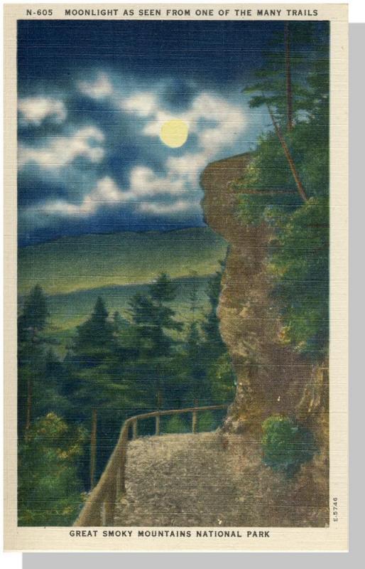 Smoky Mountains Nat'l Prk,NC/TN Postcard,Moonlight/Nr Mint!