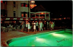 1950s Kennebunkport, Maine Postcard THE COLONY HOTEL Dancing at the Pool / Night