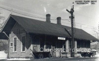 Nickel Plate Depot, Valparaiso, IN, Indiana, USA Kodak Real Photo Paper Train...