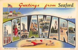 Seaford Delaware Greetings Large Letter Vintage Postcard JA454345