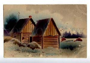 184464 RUSSIA RUSSIAN VILLAGE Cabin Vintage SB with deer SPB