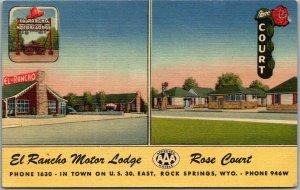 Rock Springs WY Postcard El Rancho Motor Lodge/ Rose Court Hwy 30 Roadside Linen