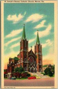 Macon, Georgia Postcard St. Joseph's Roman Catholic Church Street View Linen