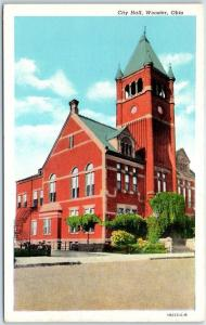 Wooster, Ohio Postcard CITY HALL Building / Street View Curteich Linen c1940s