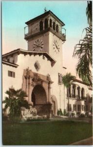 Santa Barbara CA Postcard COUNTY COURT HOUSE Hand-Colored Albertype 1930s Unused