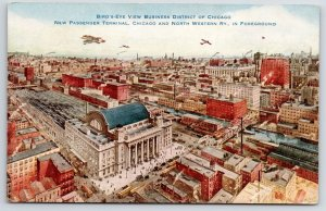Chicago & Northwestern Rail~Planes Fly Over New Train Station~Water Towers c1910