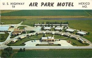Mexico Missouri~Air Park Motel Aerial View~US Highway 54~Gas Station~1950s Cars