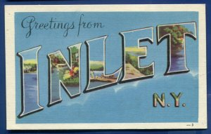 Inlet New York ny large letters letter linen postcard