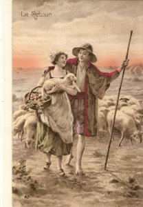 Rustic couple. Shepherds with thir flock. Le Retour Old vintage French PC