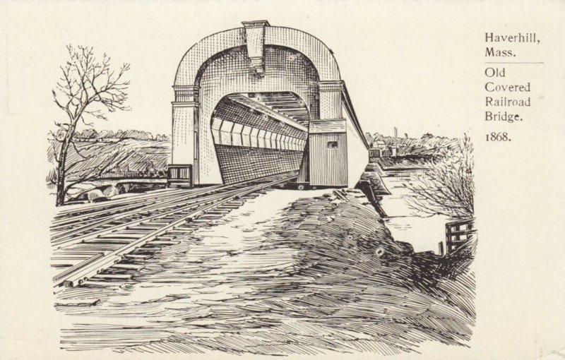 HAVERHILL , Massachusetts, 1900-10s; Old Covered Railroad Bridge