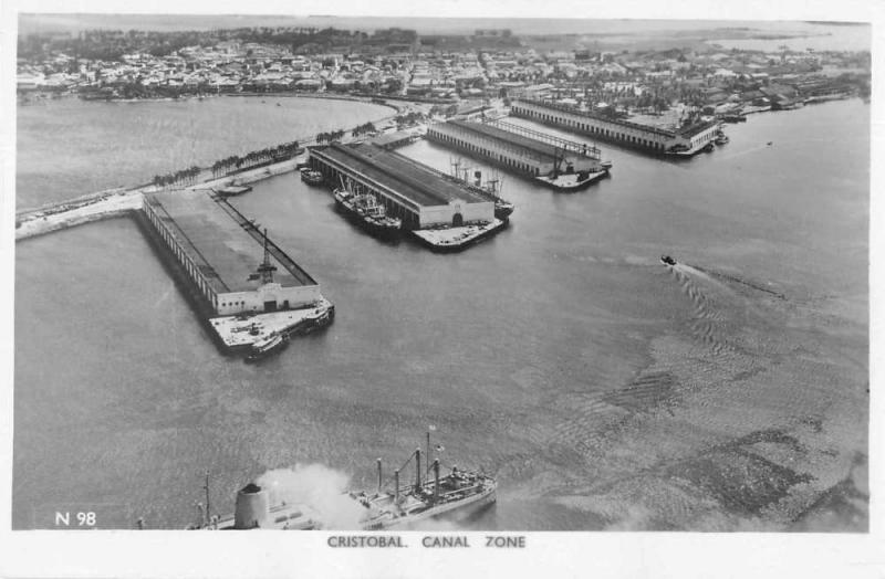 Cristobal Panama Canal Zone Aerial View Real Photo Antique Postcard J79382