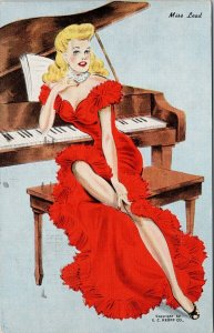 Miss Lead 'Meet The Misses' Sexy Blonde Woman Red Dress Piano c1946 Postcard F36