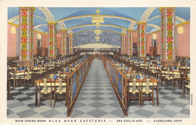 Cleveland Ohio~Blue Boar Cafeteria~Main Dining Room~Vintage Decor~1940s  Linen