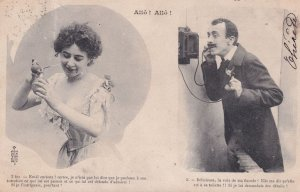 French Antique Telephone Comic Humour Old Postcard