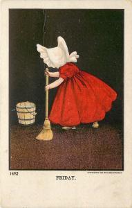 Bernhardt Wall~Sunbonnet Girls Days of the Week~Friday~Mop & Bucket~#1492~1913