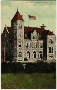 1907-1915 Binghamton NY Post Office Misspelled Binghampton MISTAKE RARE Postcard