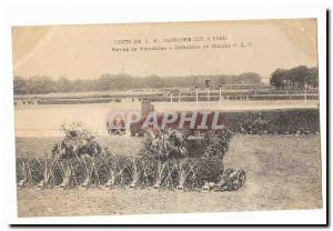 Visit SML Alfonso XIII in Paris Old Postcard review Vincennes Infantry running