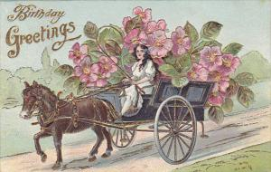 Happy Birthday Girl with Horse Drawn Cart Full OF Flowers Embossed 1909