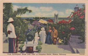 NASSAU, Bahamas, 30-40s; Cannon, From Government House, Columbus Statue