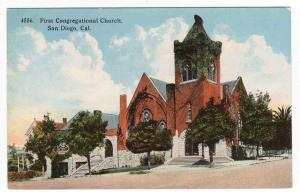 First Congregational Church San Diego California 1910c postcard