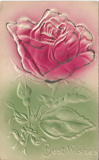 Pink Fuchsia Rose Airbrushed / Heavily Embossed Novelty Silver Glitter Postcard
