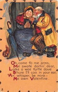 To My Valentine Raphael Tuck Leatherette Poem Umbrella Couple Postcard