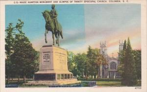 Columbia Wade Hampton Monument And Glimpse Of Trinity Episcopal Church Columb...