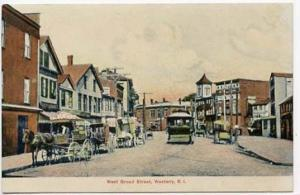 Westerly RI West Broad Street Trolley Horse & Wagons Postcard